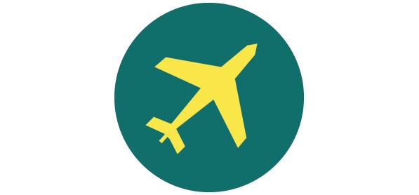 Runde Grafik mit einem Flugzeug drauf