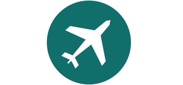 Runde Grafik mit weissem Flugzeug